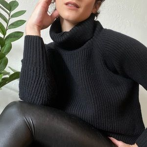 Aritzia Wilfred Black Wool Turtleneck Sweater